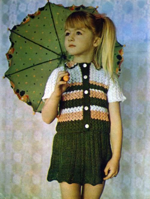 детское вязание крючком для девочек схема костюма кофточка и юбка
