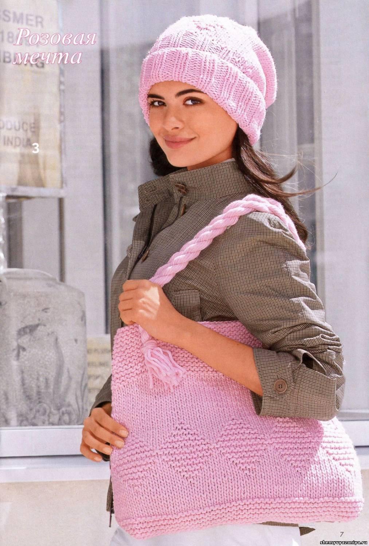 схемы вязания шапок и сумок спицами розовая шапочка и сумка сумки
