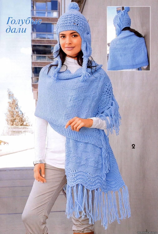 шапки шарфы спицами схемы