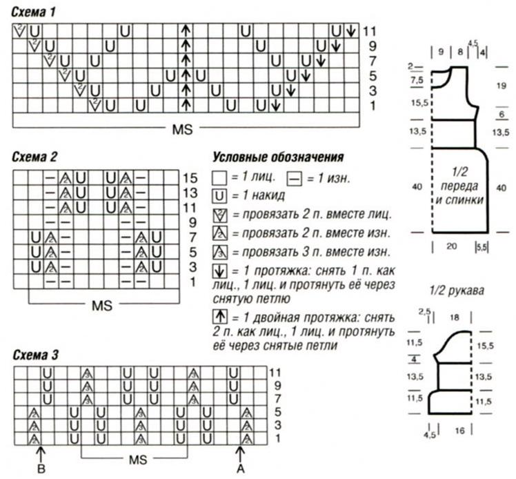 Схемы для вязания спицами ажурные туники 240