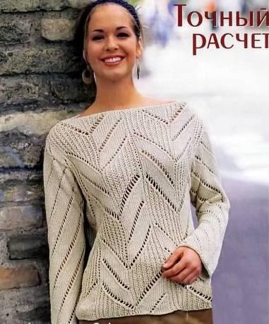 ажурный пуловер спицами и схема новая модель 2014 года кофты